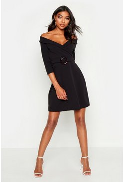 Womens Black Tall O Ring Belted Wrap Dress
