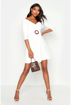 Tall O Ring Belted Wrap Dress, Ivory, Donna