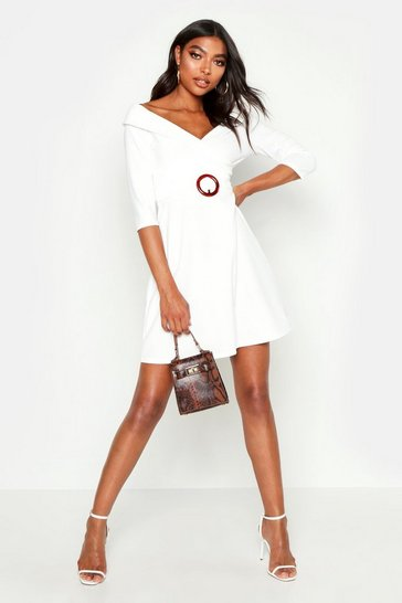 Womens Ivory Tall O Ring Belted Wrap Dress