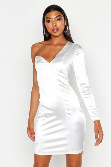 Womens White Tall One Shoulder Bodycon Mini Dress