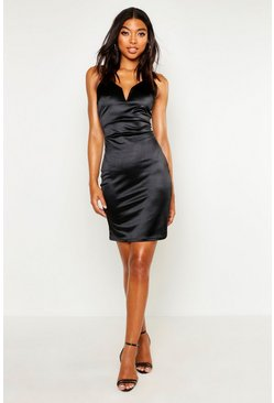 Womens Black Tall Plunge Stretch Satin Mini Dress