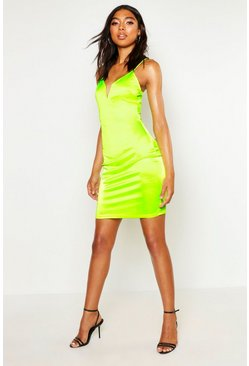 Neon-lime Tall Plunge Stretch Satin Mini Dress
