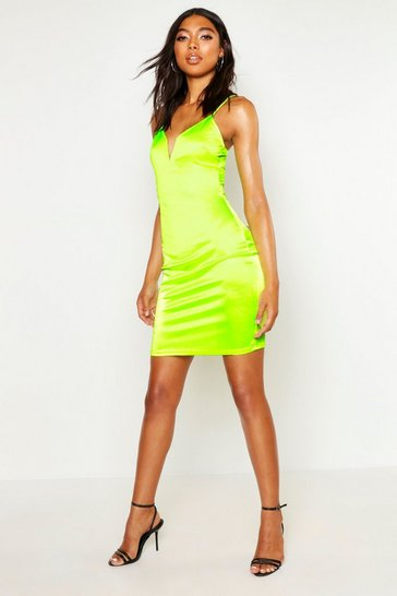 Womens Neon-lime Tall Plunge Stretch Satin Mini Dress