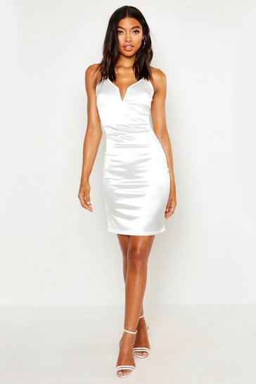 Womens White Tall Plunge Stretch Satin Mini Dress
