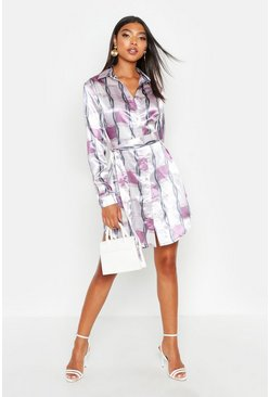 Tall Chain Print Belted Shirt Dress, Lilac, Donna