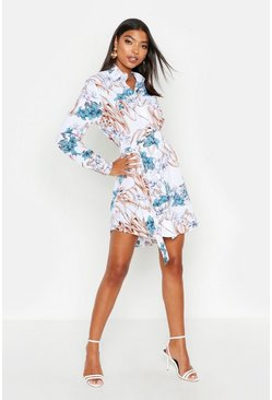Tall Floral Print Belted Shirt Dress, Ivory, Donna
