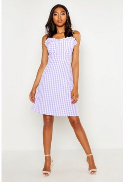 Tall Bustier Gingham Skater Dress, Lilac, DAMEN