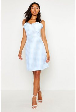 Sky Tall Bustier Gingham Skater Dress