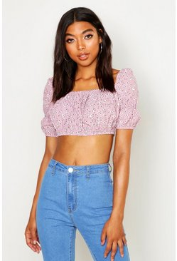 Womens Dusky pink Tall Ditsy Floral Puff Sleeve Crop