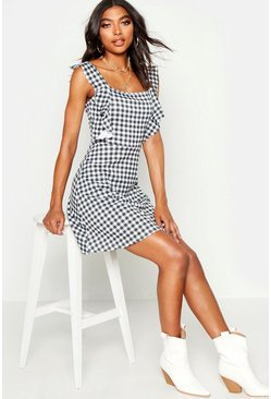 Womens Black Tall Gingham Sun Dress