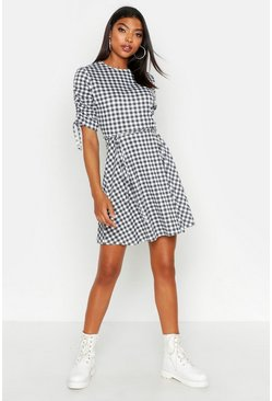 Womens Black Tall Ruched Sleeve Gingham Skater Dress