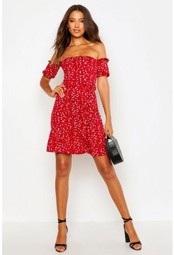 Womens Red Tall Ditsy Floral Off The Shoulder Skater Dress