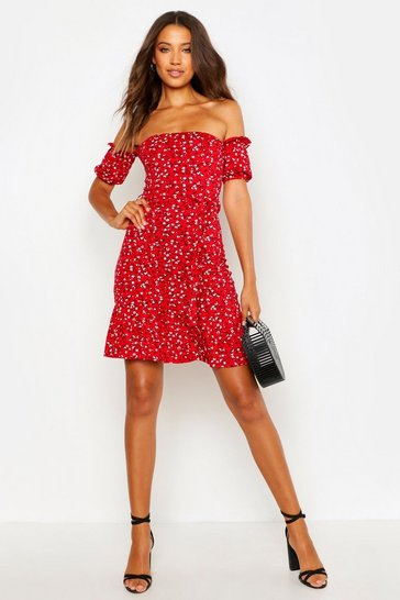 Red Tall Ditsy Floral Off The Shoulder Skater Dress