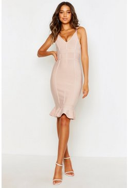 Womens Nude Tall Bandage Frill Hem Midi Dress