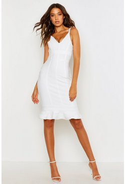 White Tall Bandage Frill Hem Midi Dress