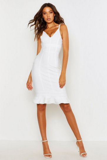 Womens White Tall Bandage Frill Hem Midi Dress