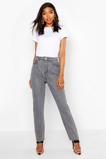 Womens Grey Tall Fray Hem Straight Leg Jeans