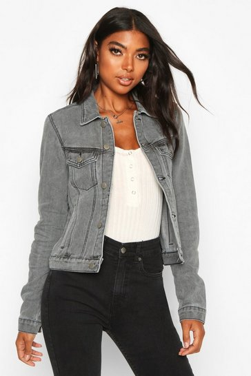 Womens Grey Tall Slim Fit Denim Jacket