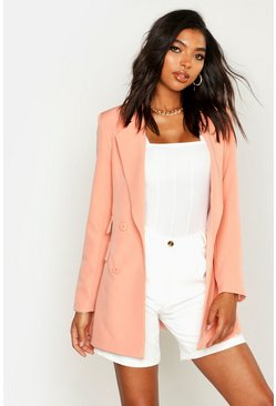 Womens Coral Tall Woven Double Pocket Blazer