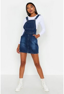 Womens Indigo Tall Front Pocket Denim Pinafore