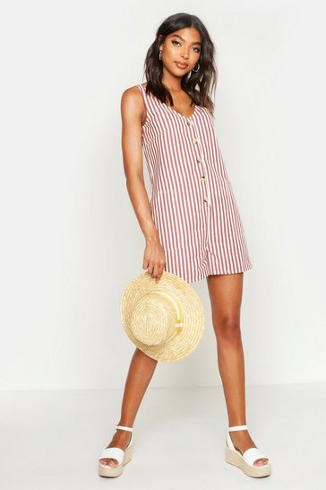 Womens Rust Tall Stripe Twill Romper