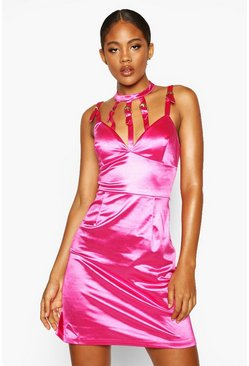 Hot pink Tall Stretch Satin Buckle Mini Dress