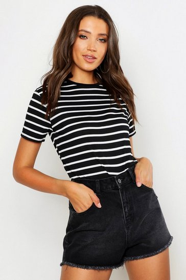 Womens Black Tall Cotton Stripe Boxy T-Shirt