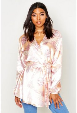 Womens Blush Tall Scarf Print Wrap Top