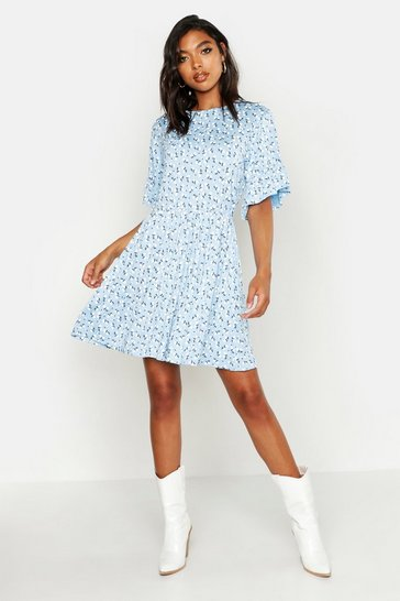 Blue Tall Ditsy Floral Smock Dress