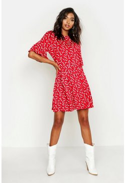 Red Tall Ditsy Floral Smock Dress