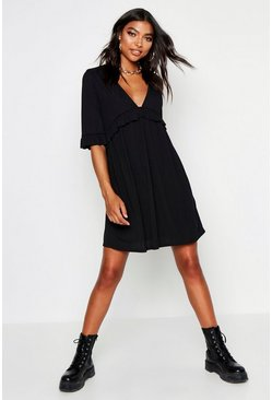 Womens Black Tall Rib Ruffle Smock Dress