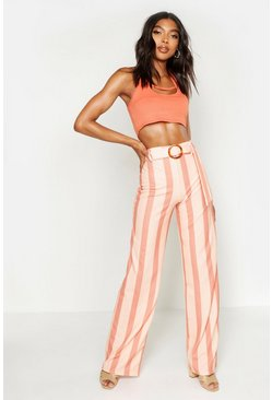 Womens Caramel Tall Tonal Stripe O Ring Belt Wide Leg Trousers