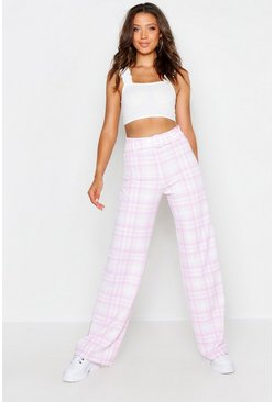 Womens Pastel pink Tall Check Belted Wide Leg Trousers