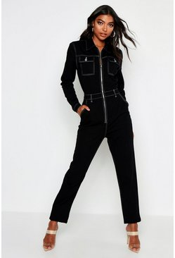 Womens Black Tall Contrast Stitch Denim Boiler Suit