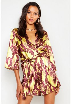 Gold Tall Snake Print Satin Wrap Playsuit