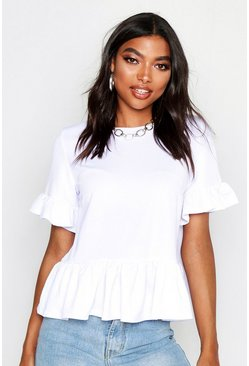 Womens White Tall Ruffle Sleeve Smock Top