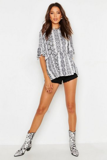 Womens Grey Tall Snake Print Smock Top