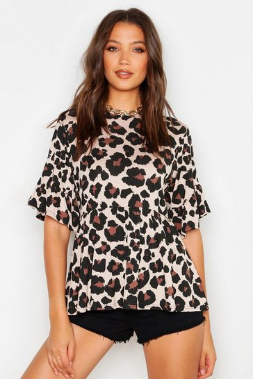 Womens Tall Leopard Print Smock Top