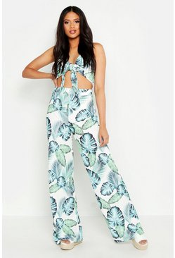 Ivory Tall Palm Print Wide Leg Trousers