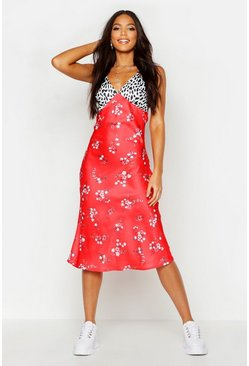Red Tall Satin Mixed Floral Bias Cut Midi Dress