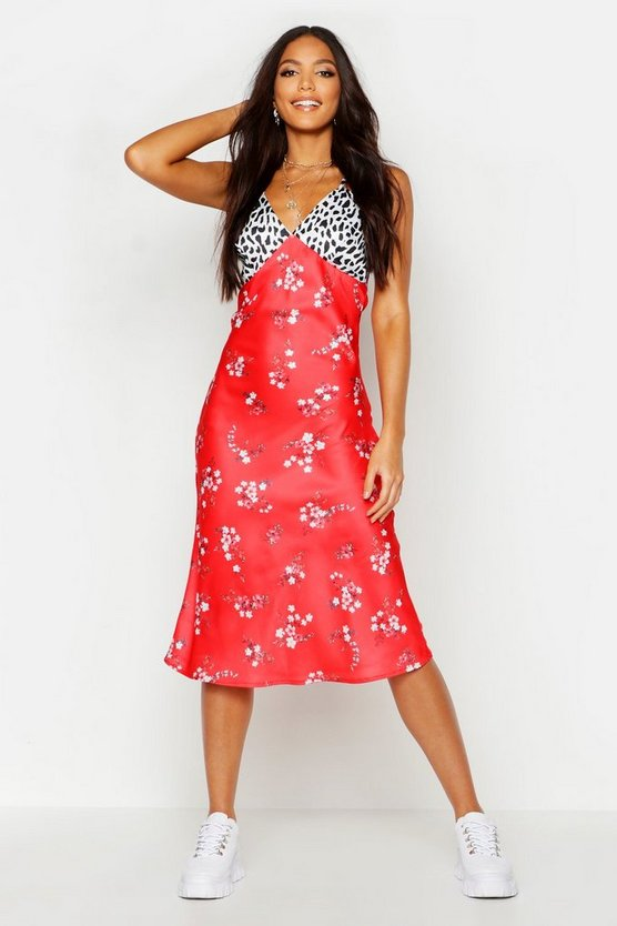 Womens Red Tall Satin Mixed Floral Bias Cut Midi Dress