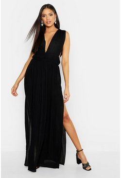 Womens Black Tall Cheesecloth Plunge Maxi Dress