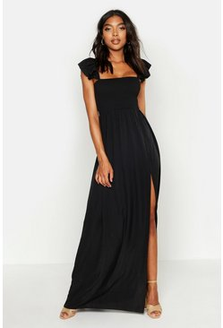 Womens Black Tall Woven Ruffle Sleeve Maxi Dress