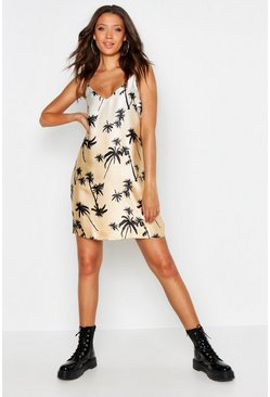Tan Tall Palm Print Woven Slip Dress