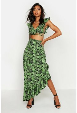 Womens Black Tall Leaf Print Ruffle Maxi Skirt Co-ord