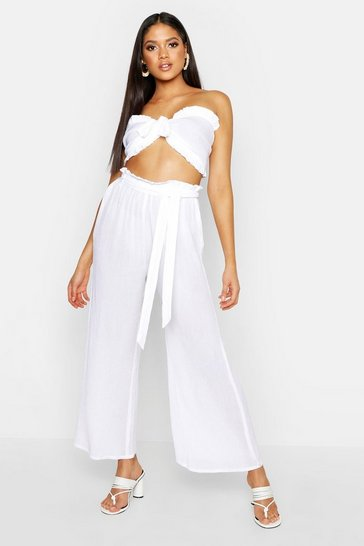 Womens White Tall Cheesecloth Bralet & Wide Leg Trouser Co-Ord