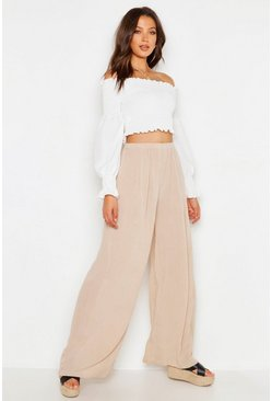 Ecru Tall Cheesecloth Wide Leg Trouser