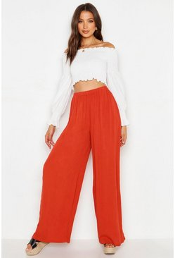 Womens Spice Tall Cheesecloth Wide Leg Trouser