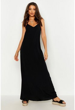 Womens Black Tall Woven Tassel Maxi Dress
