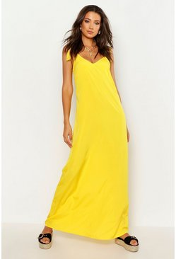 Womens Yellow Tall Woven Tassel Maxi Dress